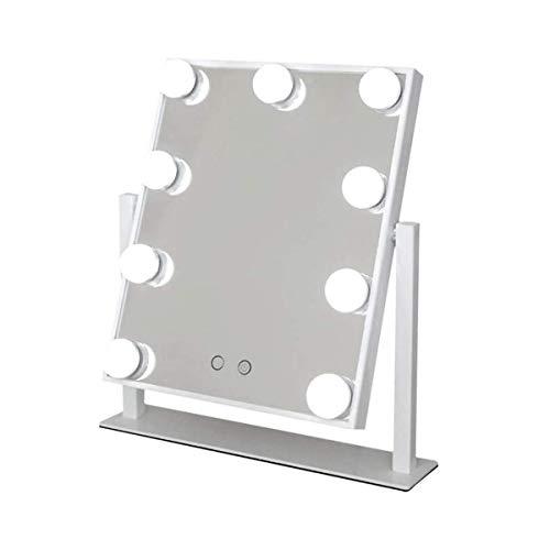 Espejo de Maquillaje Iluminado Hollywood, Espejo de Mesa con Luz LED, Profesional Espejo Cosmético Tocador Modos 3 Colores, 9 Bombillas LED Regulables Control táctil InteligenteWhite
