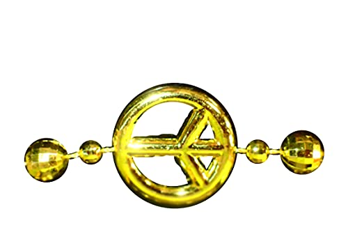 Frames para su disfraz de hippie babacool - Collar dorado - Perlas multicara efecto bolas de disco + siglo de Peace & Love, 50 cm - Ref: Baco