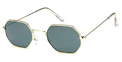 KIRALOVE - Gafas de sol - Idea regalo - Retro - Cuadrados - Moda - Octagonales - Mujer - Hombre - Vintage - Niño Montatura Oro - Lente Verde Talla única