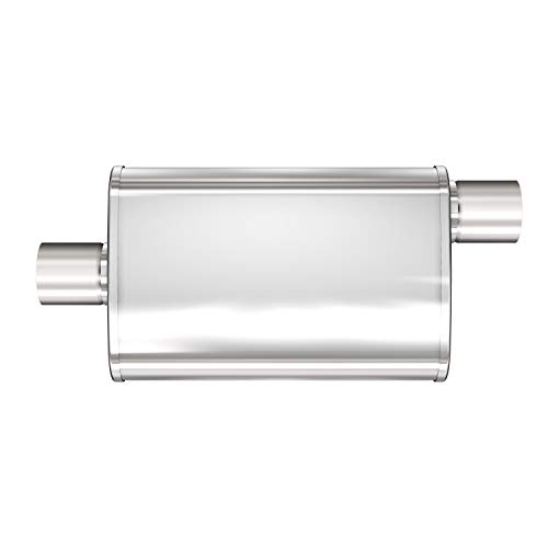 MagnaFlow 4in x 9in Oval Center/Offset Performance Muffler Exhaust 13215 - XL Multi-Chamber , 2.25in Inlet/Outlet, 14in Body Length, 20in Overall Length, Satin Finish - Classic Deep Exhaust Sound