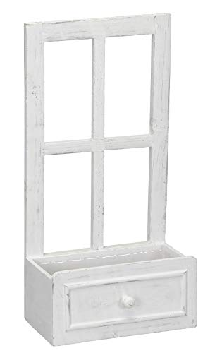 Posiwio kleines Deko-Fenster Fensterrahmen mit offenem Fach in Schubkasten-Optik im Landhausstil Weiss Shabby