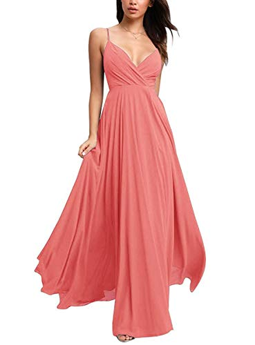 GMAR V Neck Chiffon Spaghetti Straps Long Ruched Bridesmaid Dresses for Women Coral-16 (Apparel)