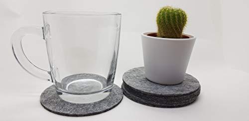 Soma Filzuntersetzer rund 6er Pack grau - Untersetzer aus Filz für Tisch und Bar als Glasuntersetzer/Getränkeuntersetzer für Glas und Gläser rund Hell-grau
