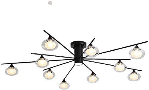 BUNUMO Lámpara de araña nórdica Globo de luz Pantalla de Cristal Lámpara Colgante Regulable