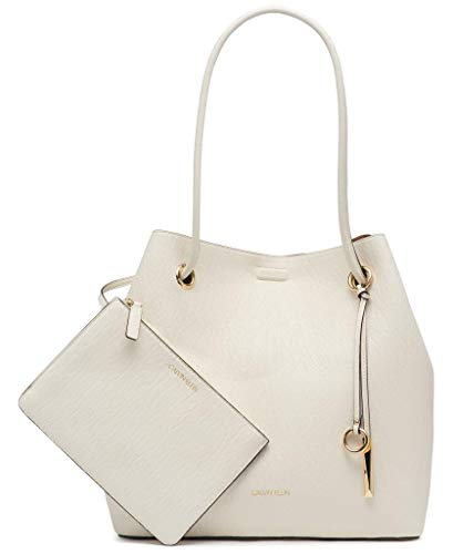 Calvin Klein Gabrianna Bubble Lamb North/South Key Item Tote, White Combo