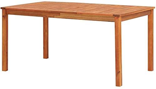 OBLLER Mesa de jardín de Madera Maciza con Agujero para sombrilla, Muebles de Exterior, Mesa de Comedor