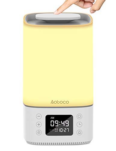 Aoboco Lámpara de mesita de noche con sensor táctil, lámpara de mesita de noche con puerto de carga rápida tipo C, temporizador de despertador, luces cálidas y luz nocturna...