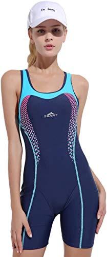Saoye Fashion Badeanzug Mit Bein Damen Sportbadeanzug Schwimmanzug Bademode Einteilig Beinen Knielang Fiesta Kleidung Wassersport Anzu (Color : Dunkelblau, Einheitsgröße : S)