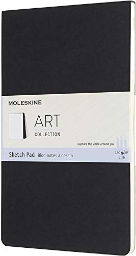 Moleskine Art Sketch Pad, Soft Cover, Large (5' x 8.25') Plain/Blank, Black, 48 Pages