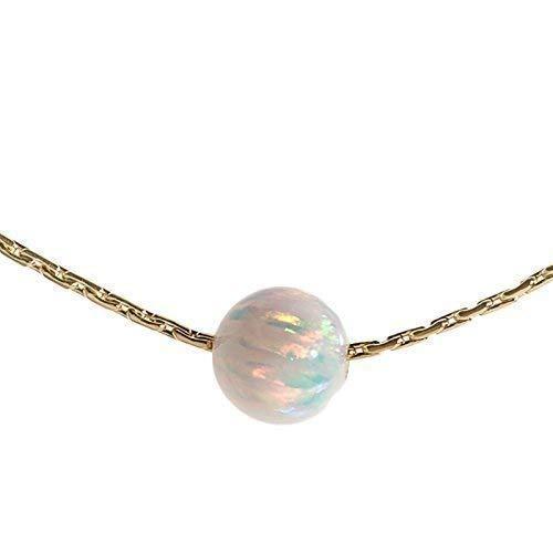 Opal Bead Halskette 14k Gold gef?llte Kabel Draht wei?er Opal Stein, L?nge 41cm / 16inch + 5cm Extender