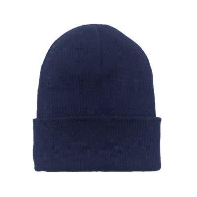 Sombreros de Invierno para Mujer nuevos Gorros de Punto sólido Lindo Sombrero niñas otoño Gorros Femeninos Gorros más cálidos Gorra Informal para Mujer-Navy