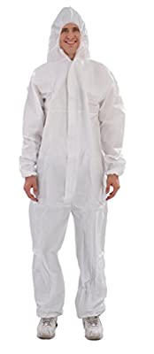 Raygard 30203 Microporous Disposable Hooded Coveralls Protective Suit with Elastic Wrists Ankles