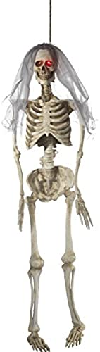Smiffys Halloween Party H edeko Deko Skelett Braut Leuchtaugen 170cm