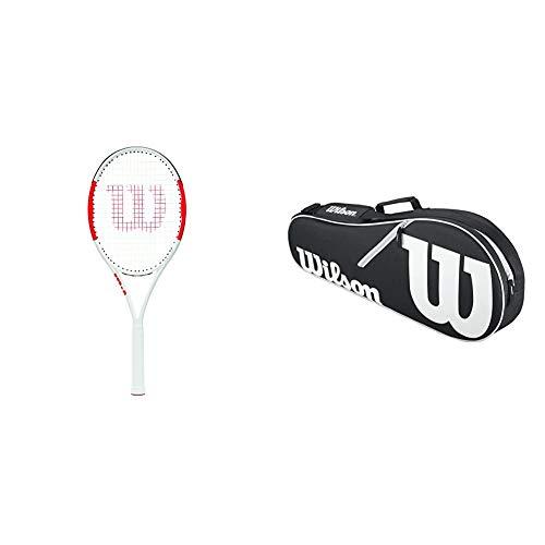 Wilson Raqueta de Tenis, Six.One Lite 102, Unisex, Jugadores intermedios, Rojo/Gris, Tamaño de empuñadura L1 + Tasche Advantage 3 Pack Bag Raquetero-Unisex, Negro/Blanco, NS