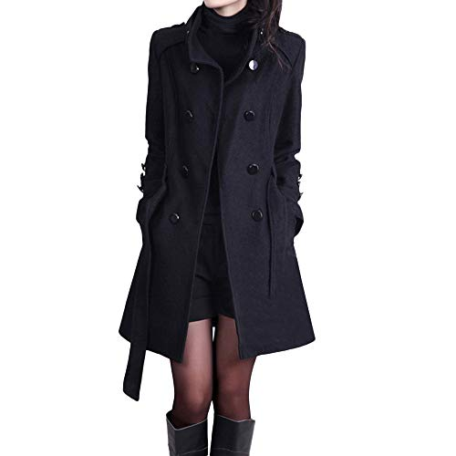 Womens Winter Casual Lapel Wool Blend Double Breasted Pea Coat Trench Coat Winter Trench Jacket with Belt Black