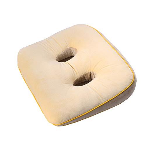 Cushion Cojines Oficina Cojín de Nalgas Hermosas Cómodo tapete Antideslizante de Doble Orificio Lento,Amarillo,40X34X5/7CM