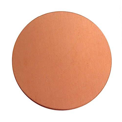 Dumadf zuiver koper, T2, metaal, loodvrij, CU-plaat, dikte: 1 mm, diameter 50 mm, 4 stuks