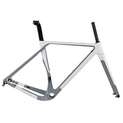 GONGJU T1000 Carbon-Kies-Bike Carbon Rahmen Cyclocross Fahrradrahmen BB386 Scheibenbremse Rennrad Rahmenset Max Reifen 700 * 40C,Weiß,54cm UD Matte