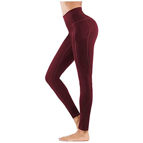 Xniral Damen Yoga Hosen Bedruckte Hüfthogahose Jogginghose Hohe Taille Leggings mit Taschen(Wein,S)