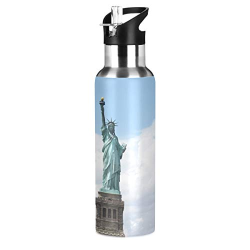 KEEPREAL Cloudy Liberty Statue Sports Water Bottle, 22 Oz BPA Free Non-Toxic Stainless Steel Water Bottle with Straw for Gym Yoga Fitness Camping
