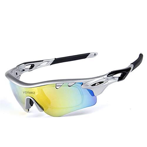 HAOQI Vintage Polarizadas Gafas De Sol,Protección UV Antideslumbrantes Gafas,Hombre Ciclismo Deportivas Conducen Gafas De Moda,Carrera UV 400 Protección Pesca Esquiando-E 16.1x4.1cm(6x2inch)
