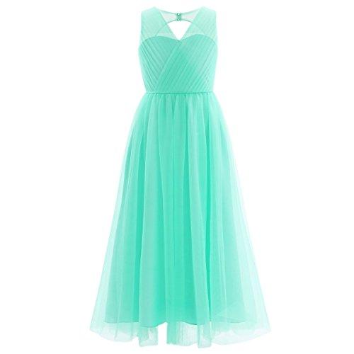 iEFiEL Kinder Mädchen Festliche Kleider Brautjungfer Hochzeits Kleid Blumenmädchenkleider Partykleid Festzug 98-164 Türkis 110-116