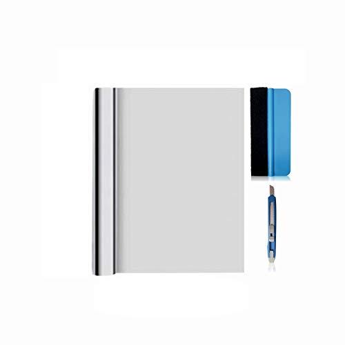 X-Solutions® | UV-Schutz Sonnenschutzfolie Fenster innen oder außen | Spiegelfolie Selbstklebend | Selbsthaftend, Silber reflektierende Fensterfolie | Sichtschutz, Sonnenschutz Folie | 45 x 200 cm