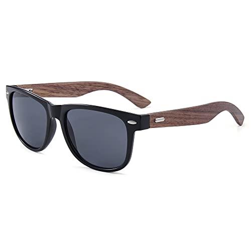 Etoni Zonnebril heren en dames met walnoot houten beugels gepolariseerd UV400 313W-2