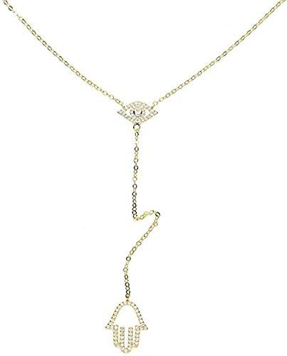 FACAIBA Collar Collar Joyas turcas Colgante de Mano de Ojo Malvado Micro Pave Clear Lariat Forma de Y Color Dorado Impresionante Collar de Mujer para Mujeres Hombres Regalo