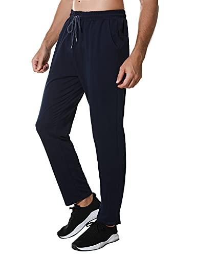Wayleb Pantalones Deportivos Hombre Pantalon Chandal Largos Algodón Verano Sweatpants Deporte Jogger Sports Pants Invierno Cintura Elástica con Bolsillos Casual Fitness,Armada,M