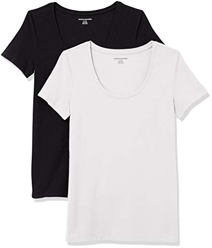 Amazon Essentials Women's 2-Pack Classic-Fit Short-Sleeve Scoopneck T-Shirt, Black/White