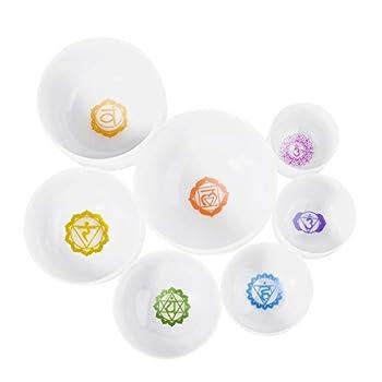 CVNC 7PCS Set Of 6-12 Inch Chakra Symbol Design Frosted Quartz Crystal Singing Bowls