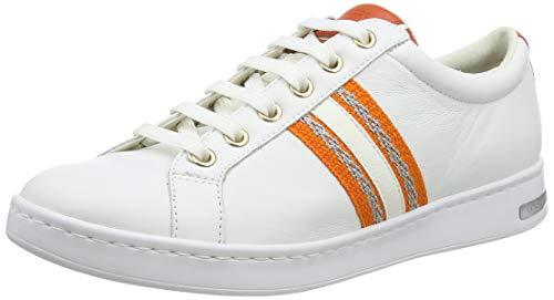Geox D Jaysen A, Scarpe da Ginnastica Basse Donna, Bianco (White/Orange C0422), 36 EU