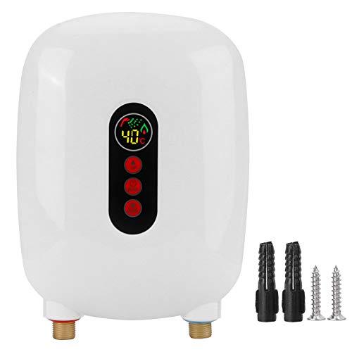 Elektronischer Durchlauferhitzer, Tankless Sofortiger Touchscreen Elektrischer Warmwasserbereiter mit LCD-Bildschirm für Küche Badezimmer öffentliche Toilette(white)
