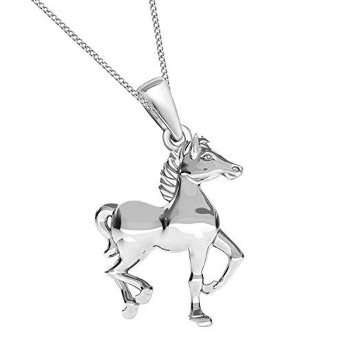 Gold Rose Silber Pferd Anhänger mit Halskette 925 Echt Silber Mädchen Damen Kette (Silber, 38)
