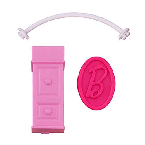 Piezas de repuesto de Barbie para Dreamhouse Dreamhouse X7949 - Mesa auxiliar rosa de repuesto, barra de ropa y letra B rosa