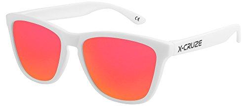 X-CRUZE 9-068 Nerd Sonnenbrillen polarisiert Style Stil Retro Vintage Retro Unisex Herren Damen Männer Frauen - weiß matt LS/rot-orange verspiegelt