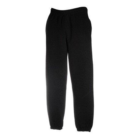 pantalone tuta FRUIT OF THE LOOM felpato con elastico e cordoncino in vita tasche ed elastico caviglie gr.280 (TG.S, NERO)