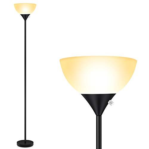 Floor Lamp, Standing Lamp, 9W LED Floor Lamp, Energy Saving, 50,000hrs Long Lifespan, 3000K Warm White, Eye-Caring, Torchiere Floor Lamps for Bedroom, Living Room, Office, Reading, Black Floor Lamps
