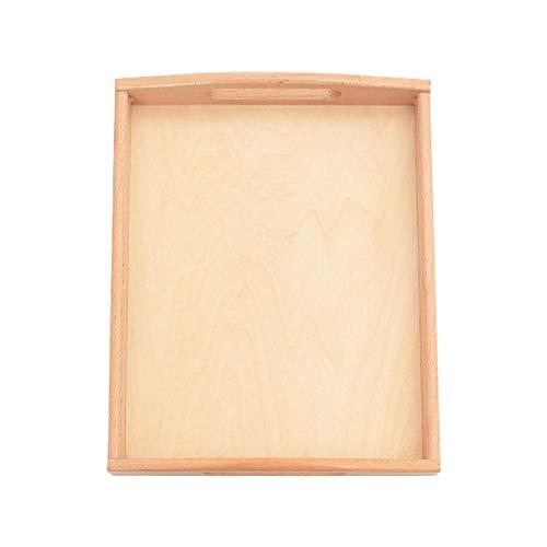 Tongdejing Vaschetta in legno per materiali Montessori, rettangolare, con manici