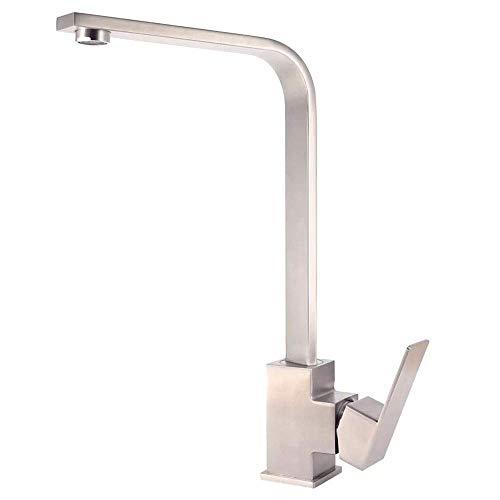 HYY-YY Cuenca grifo 304 acero inoxidable fregadero de cocina cuadrado giratorio agua caliente y fría grifo baño grifos baño