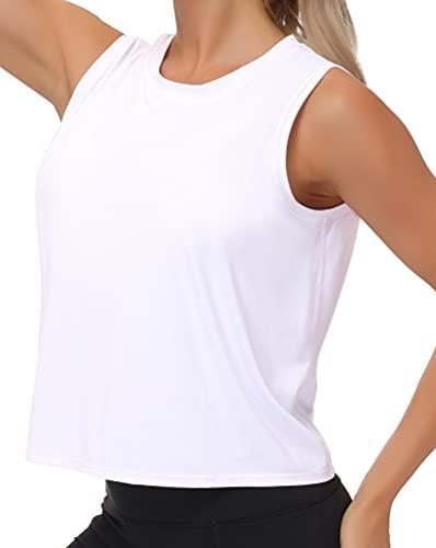 Camisetas de entrenamiento de seda para mujeres de secado rápido muscular, gimnasio, correr, sin mangas, para yoga, S, Blanco