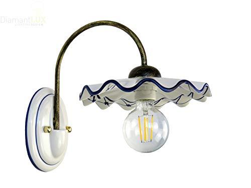 BIBI-A applique rustico lampada da parete ceramica blu DIAMANTLUX