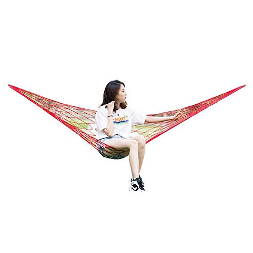 HUANXI Lightweight Single Amok Hammock with Tie Rope + Storage Bag,300kg Load Capacity (220x120cm) Red Rope Hammock for Outdoor Camping Garden Travel