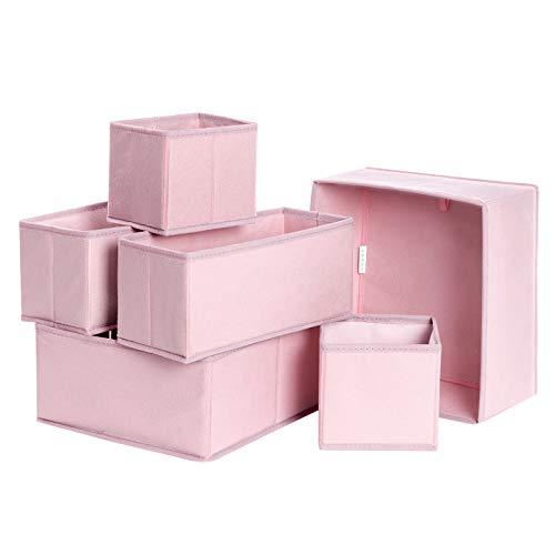 SONGMICS Aufbewahrungsboxen für Unterwäsche, Schubladen-Organizer, 6er Set, Aufbewahrungskörbe, Faltbare Stoffboxen für Socken, Unterwäsche, BHS, Krawatten und Schals, rosa RDZ06PK
