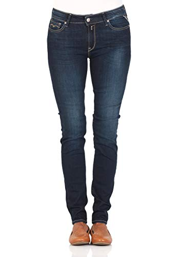 Replay Damen Jeans New Luz - Skinny Fit - Blau - Dark Blue, Größe:W 32 L 30, Farbe:Dark Blue (502)