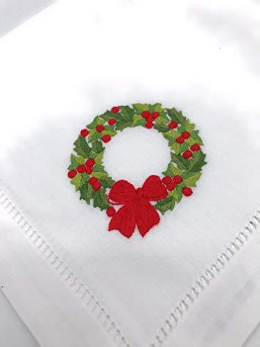 Dr. Stöber Stoff Weihnachts Serviette Weiss Weihnachten Tischdeko Bestickt Kranz Schleife