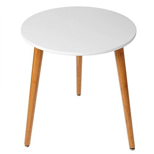 WOLTU BT08ws Tavolini da Salotto Caffe' Tabelle di bambù MDF Scrivania Tavolo Basso Cucina Camera Giardino Moderno Bianco 60x60x75 cm