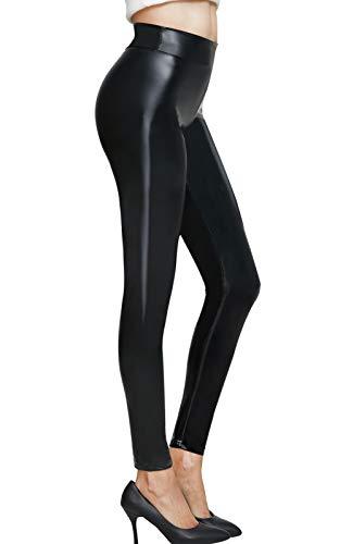 Pelisy Damen Leder Leggings Schwarz Lederoptik Mittlere Taille PU Lederimitat Glanzleggings Sexy Kunstlederhose, Schwarz, S-- Taille 63 - 69cm; Hüfte 92cm.