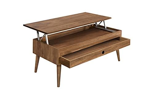 Hogar24-Mesa de centro elevable con cajón deslizante diseño vintage, madera maciza natural. 100cm x 50cm x 47cm